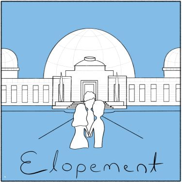 drawing of two people eloping at the Griffith Observatory, with the word ELOPEMENT written on the bottom