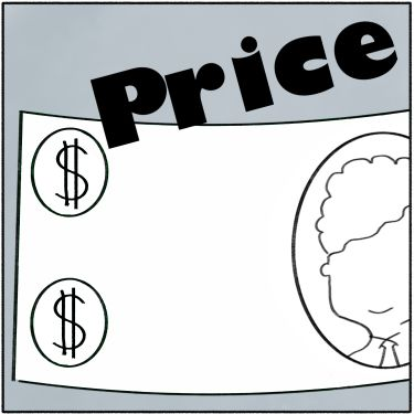A drawing of money with the word: PRICE
