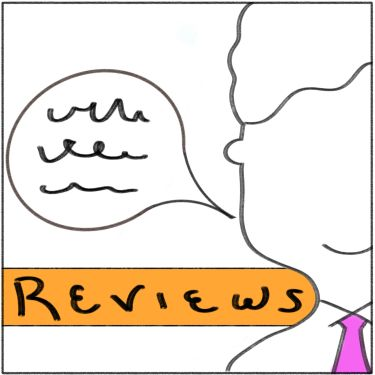 A drawing of a guy speaking.  The word REVIEWS is written on the bottom